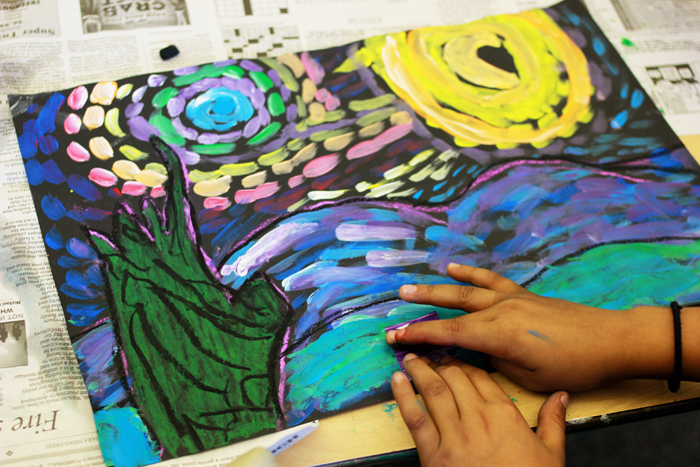 Using Van Gogh's Starry Night to teach children how to incorporate Movement in Art