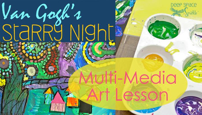 starry night multi media art lesson deep space sparkle