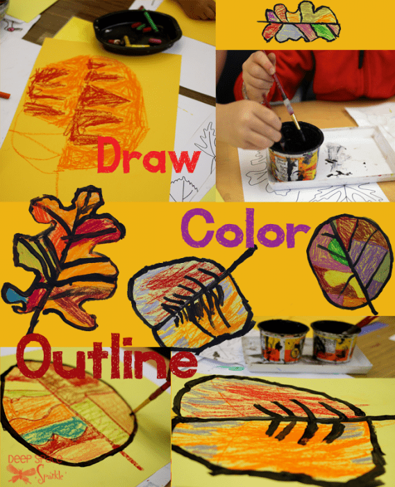 Fall leaves draw, color and outline