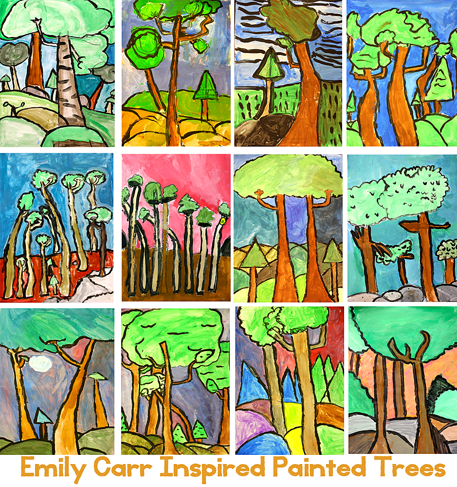 Emily Carr painted trees art project