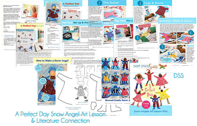Based on the book, A Perfect Day, kids paint a snowy background and create paper snow angels. Kids arts and craft activities from Deep Space Sparkle