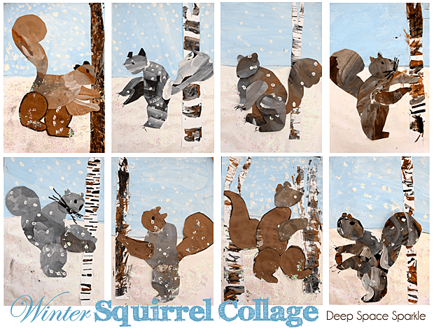 Kids paint a wintery background then cut a squirrel from painted paper. An easy winter art project for kids. Glitter optional!