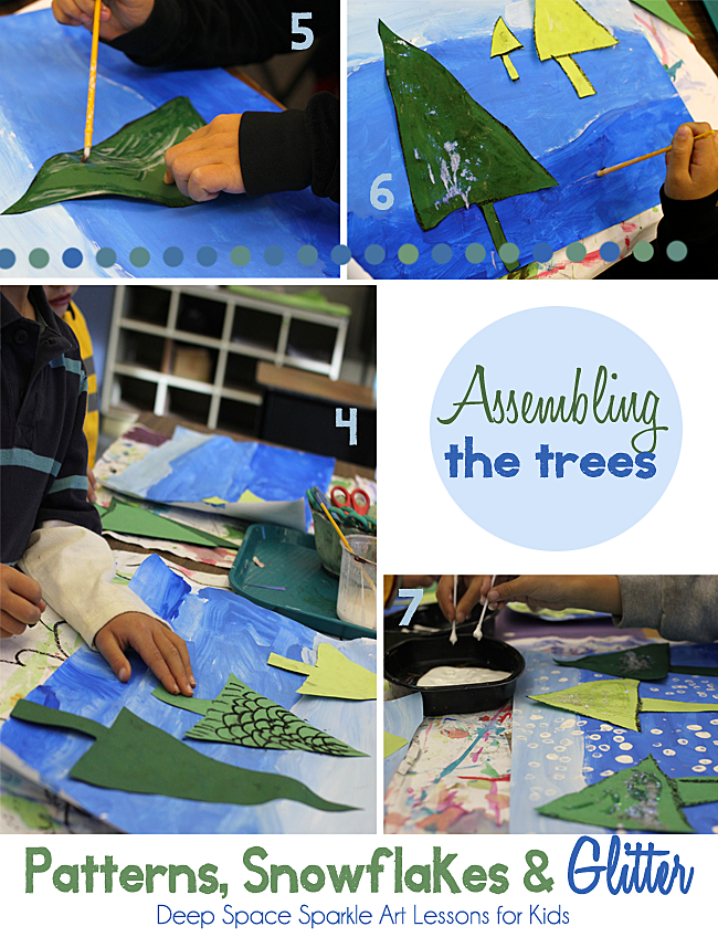 Inspired by the book, Once Upon a Northern Night, kids paint a snowy background and use the rules of color perspective to make a forest of glittery trees.