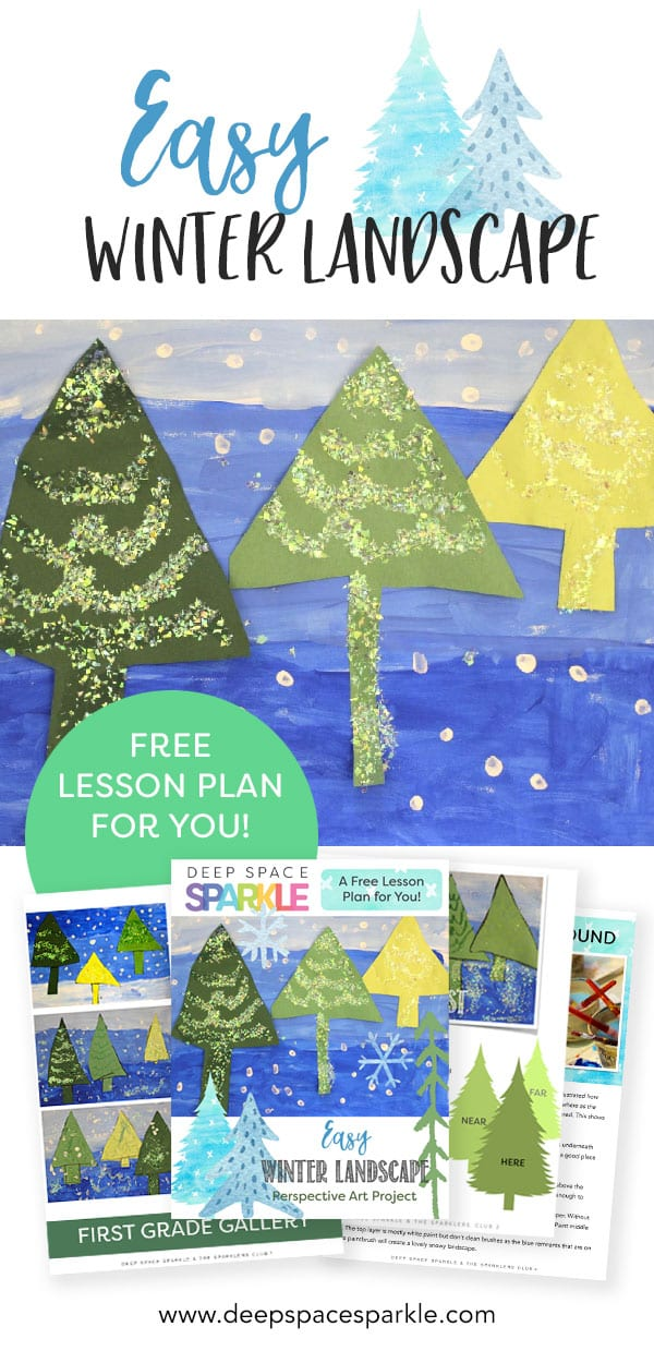 Easy winter landscape tree art project for kids
