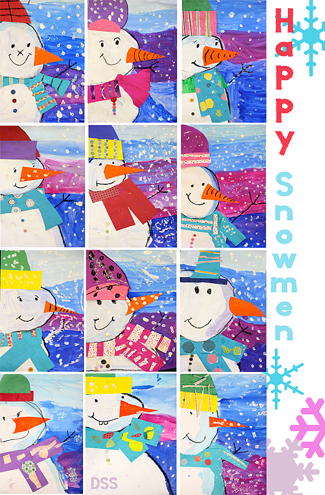 Snowman Collage Project Deep Space Sparkle
