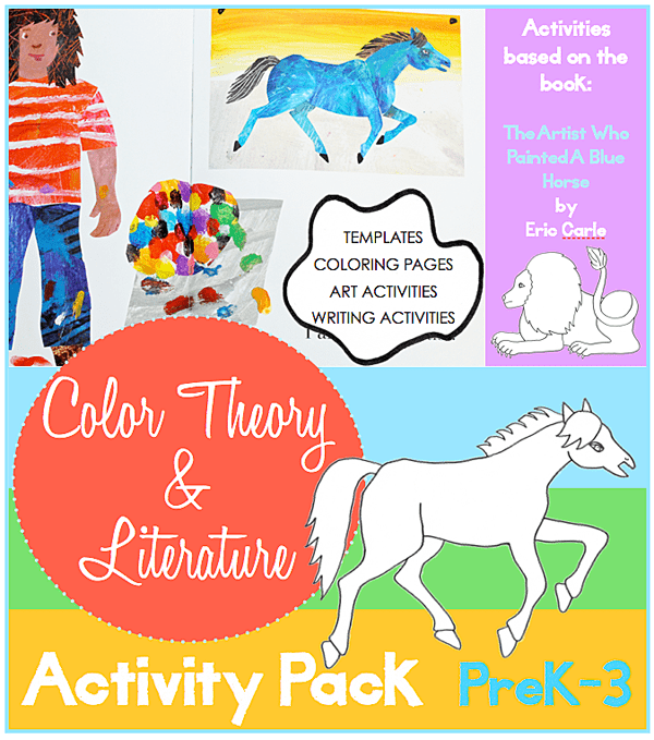 Color Theory and Literature Art Activity Pack by DSS. Inspired by the book, The Artist Who Painted A Blue Horse.