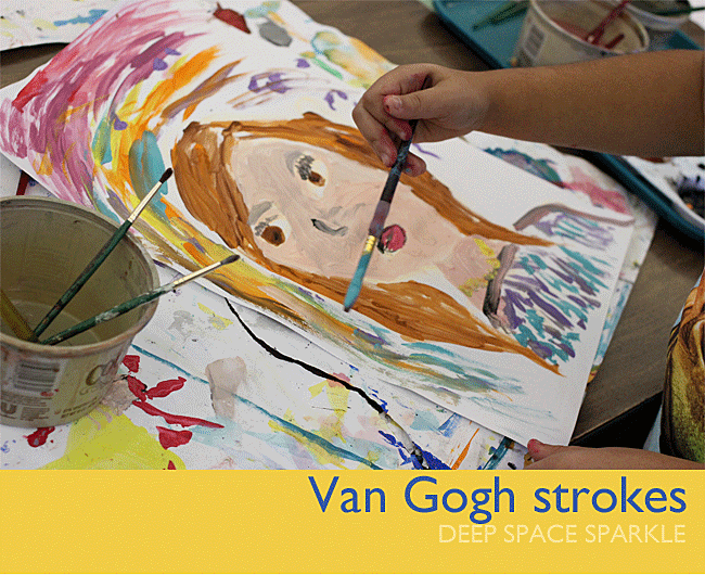 Van Gogh inspired portrait art lesson for 3rd grade kids