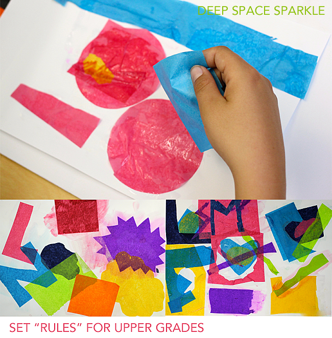 Easy steps to make an abstract tissue paper art project