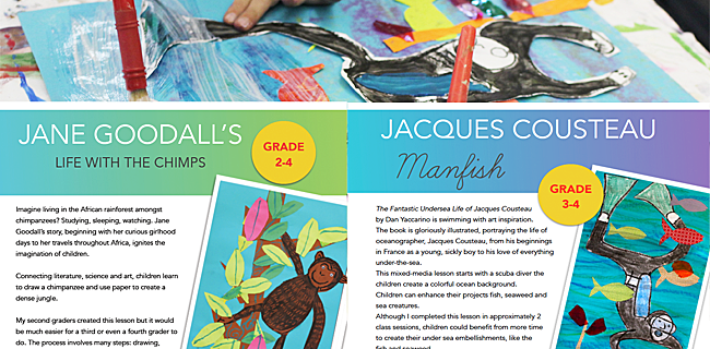 Jacques Cousteau and Jane Goodall Art Projects