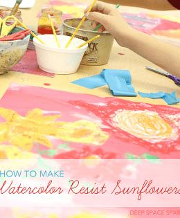 Watercolor Sunflower Resist Art Lesson