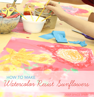 Watercolor Sunflower Resist Art Lesson