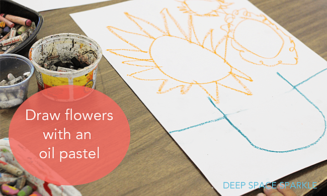 How to draw a sunflower in a pot