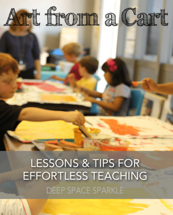 How to organize art supplies and pick the right lessons when teaching art from a cart. Lesson planning tips from Deep Space Sparkle