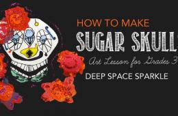 Sugar Skull Line Drawings & Collage