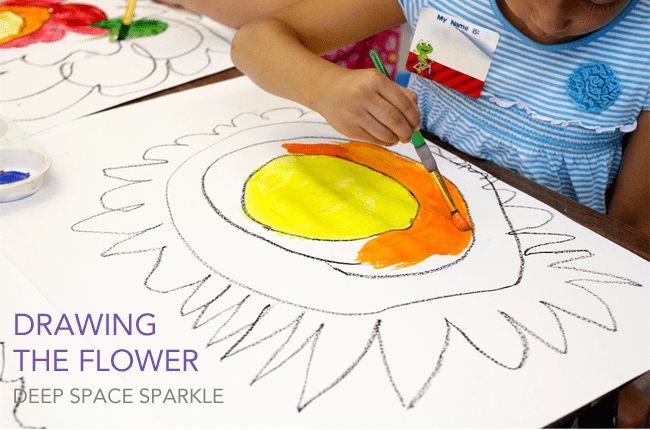colorwheel flowers art lesson deep space sparkle