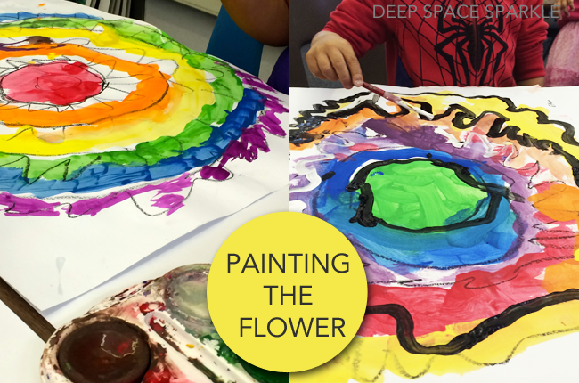 Rainbow flower art project teaches painting techniques, radial symmetry and the color wheel