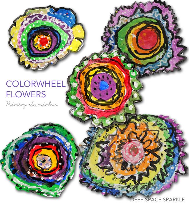 Colorwheel Flowers Art Lesson Deep Space Sparkle