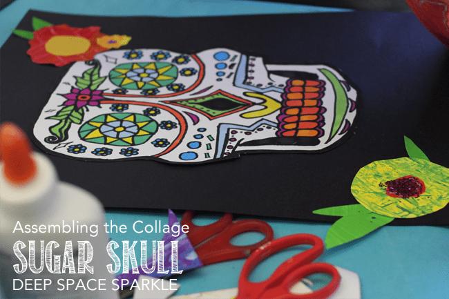 Sugar Skull Line Drawings amp Collage