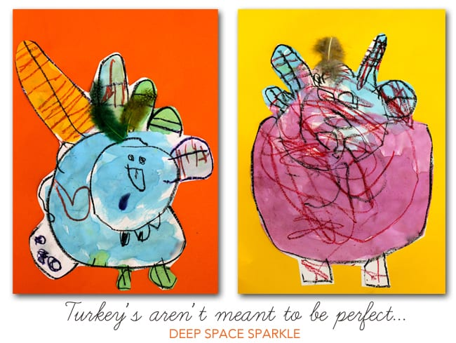 A fun Thanksgiving arts and crafts project for kids that teaches boys and girls how to draw a turkey using easy techniques and what to expect tips!