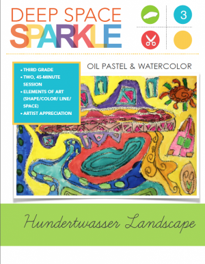 Inspired by Hundertwasser's strong, bright colors and organic lines, children draw a organic shape landscape and use watercolor techniques to color.