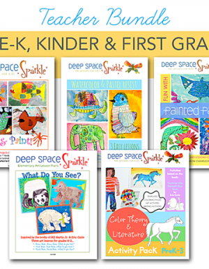 Deep Space Sparkle discounted art lesson bundle for the PreK, Kinder and first grade teacher.