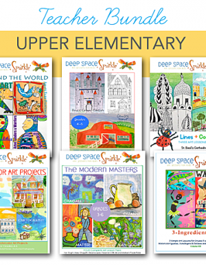 Bundle art lesson package for the upper elementary teacher that connect literature, math, science, history and art at a discounted price.