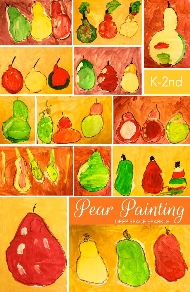 Kids paint a beautiful pear still-life observation painting. Kinder Gallery