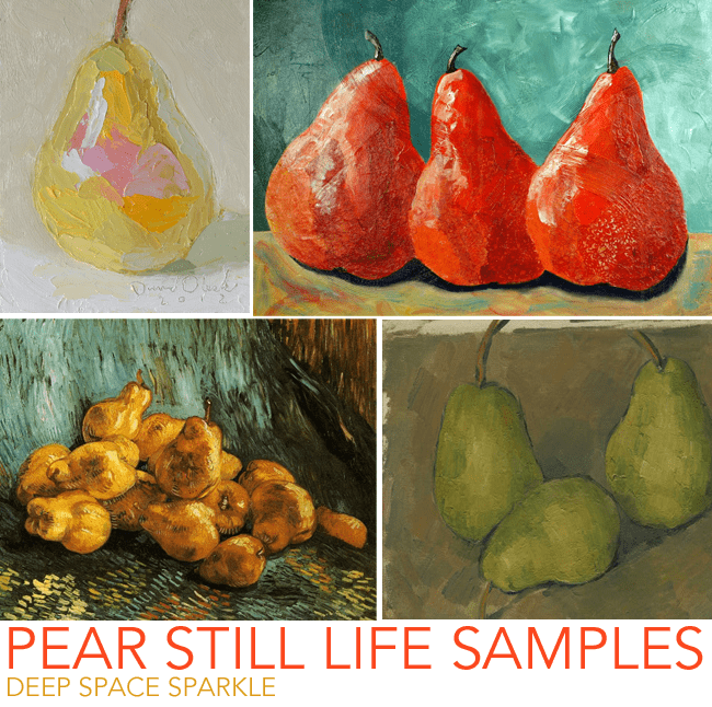 Kids use artist samples to paint a beautiful pear still-life observation painting