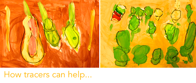 Kids paint a beautiful pear still-life observation painting