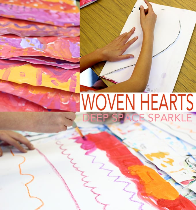 Inspired by Picasso's rose period, boys and girls painted and weaved their way to a beautiful heart art project.