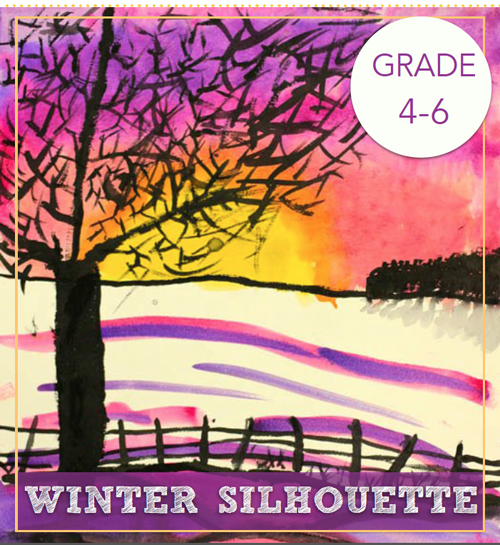 Winter Tree Silhouette Watercolor Art Lesson Deep Space Sparkle