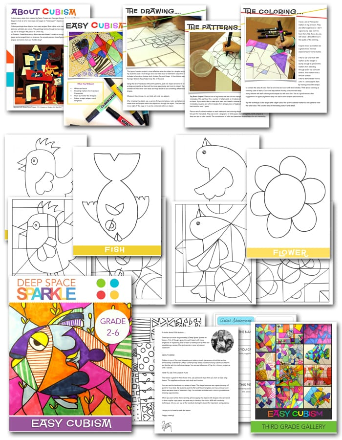 Easy Cubism Art Activities Deep Space Sparkle