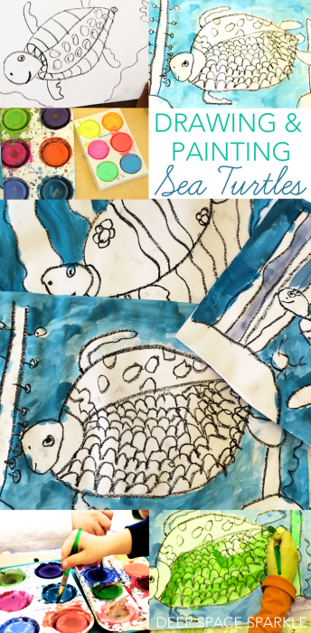 drawing and painting sea turtles for kids art in the classroom