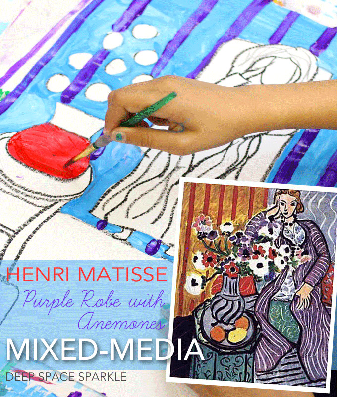 Henri Matisse's Purple Robe with Anemones mixed-media art project for kids.