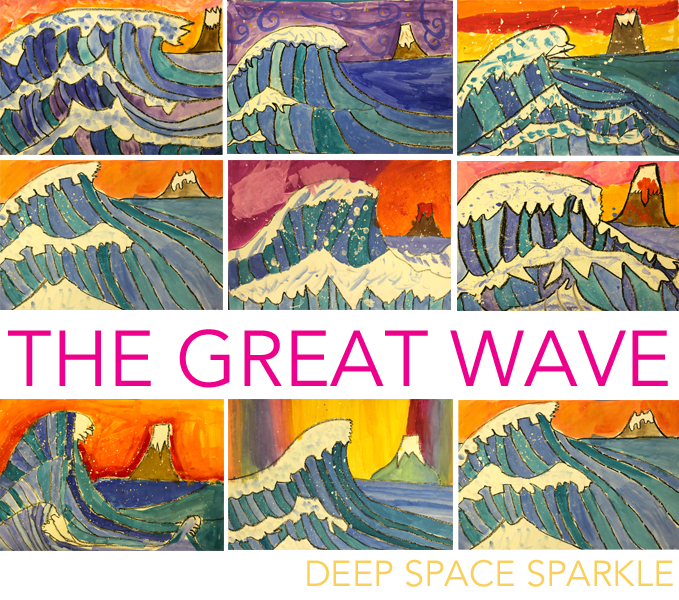 the great wave art lesson plan amp video deep space sparkle