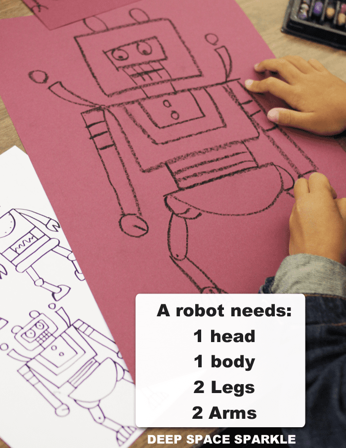 Use this drawing guide to kickstart your next robot art activity