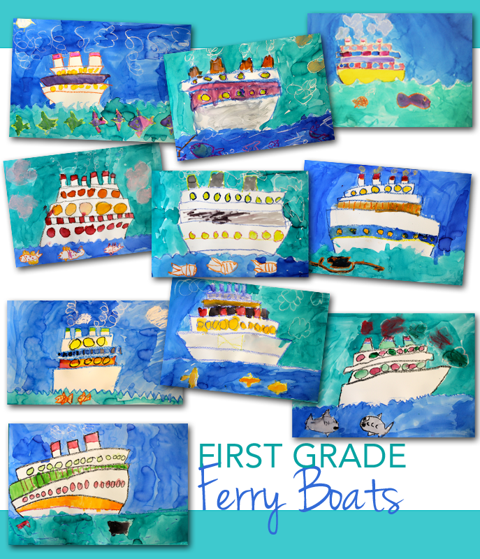 Ferry Boat drawing and painting art project