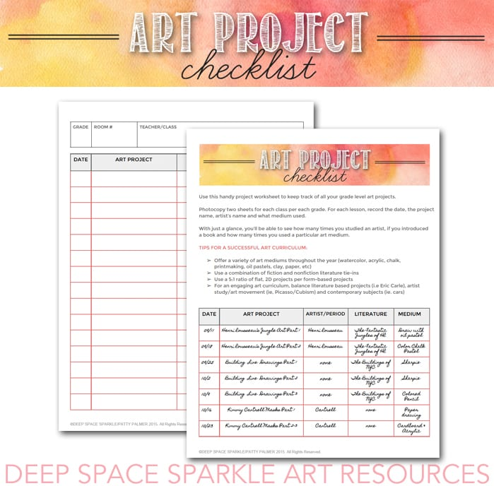 Art Project Checklist & Worksheet - Deep Space Sparkle