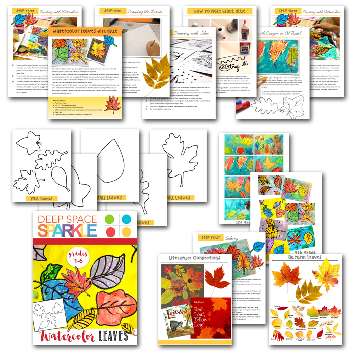 What's inside the Watercolor Leaves Art Activity Pack