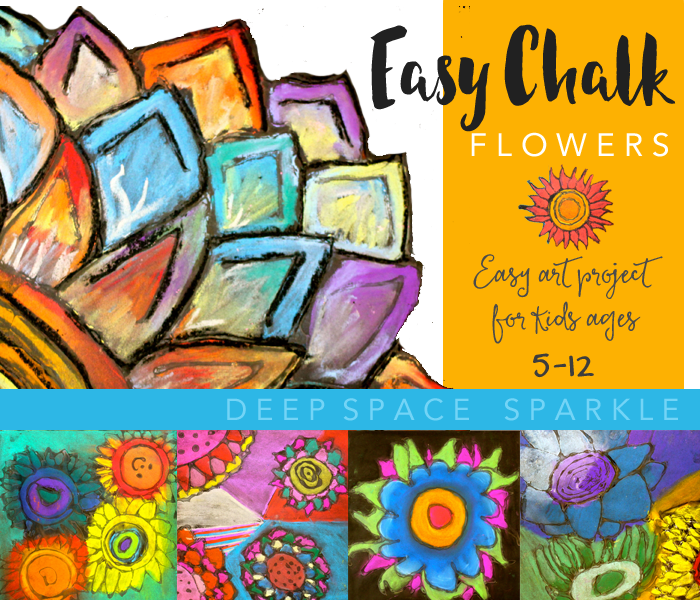 Chalk Flowers Art Project - 2 Ways - Deep Space Sparkle