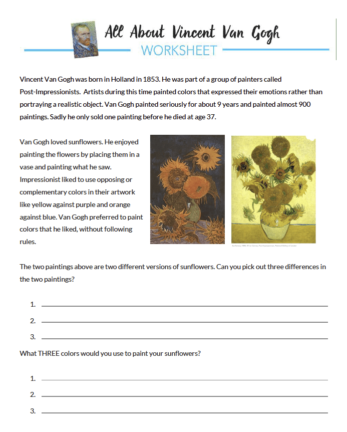 Van Gogh Student Worksheet
