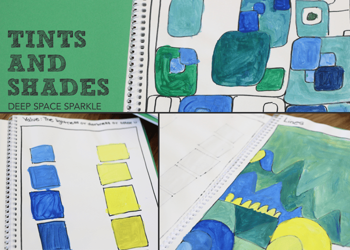 Sketchbook project: Creating Value with Paint. Art lesson for kids