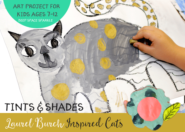 Kids create tints and shades to paint a Laurel Burch Inspired Cat