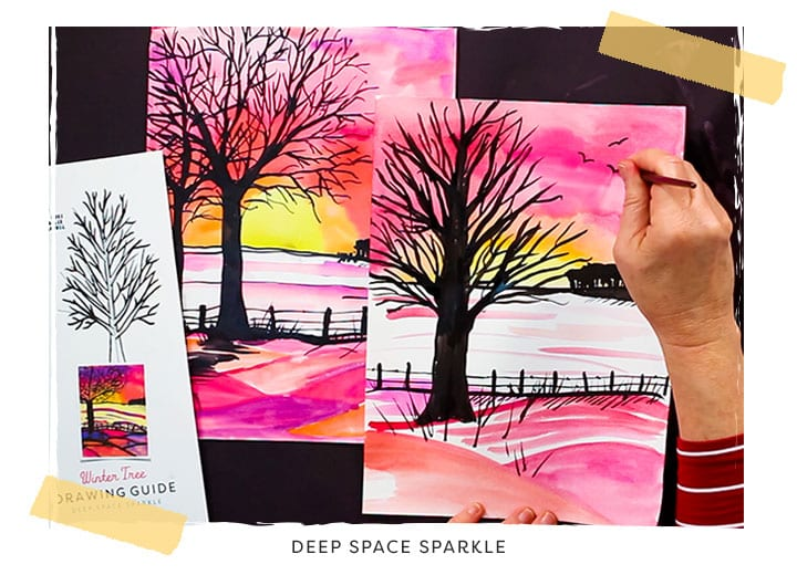 winter tree silhouette art lesson using pan watercolors