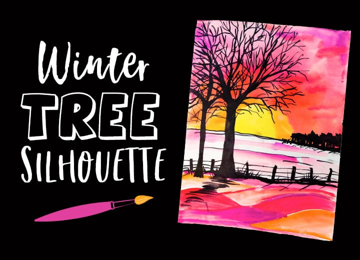 winter tree silhouette landscape using pan watercolors for kids