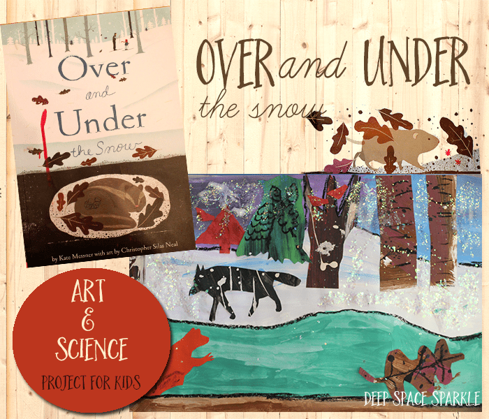 Based on the book, Over and Under the Snow by Kate Messner, kids learn how to paint perspective trees and draw hibernating animals