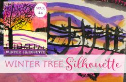 Winter Tree Silhouette Art Project
