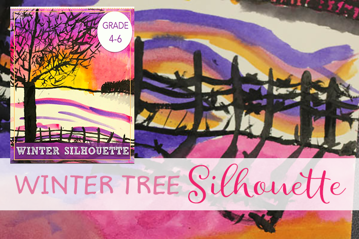Learn watercolor techniques in this winter silhouette art project