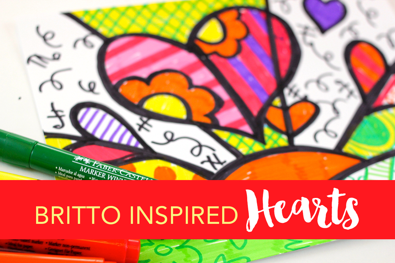 Romero Britto-Inspired Heart Art Project