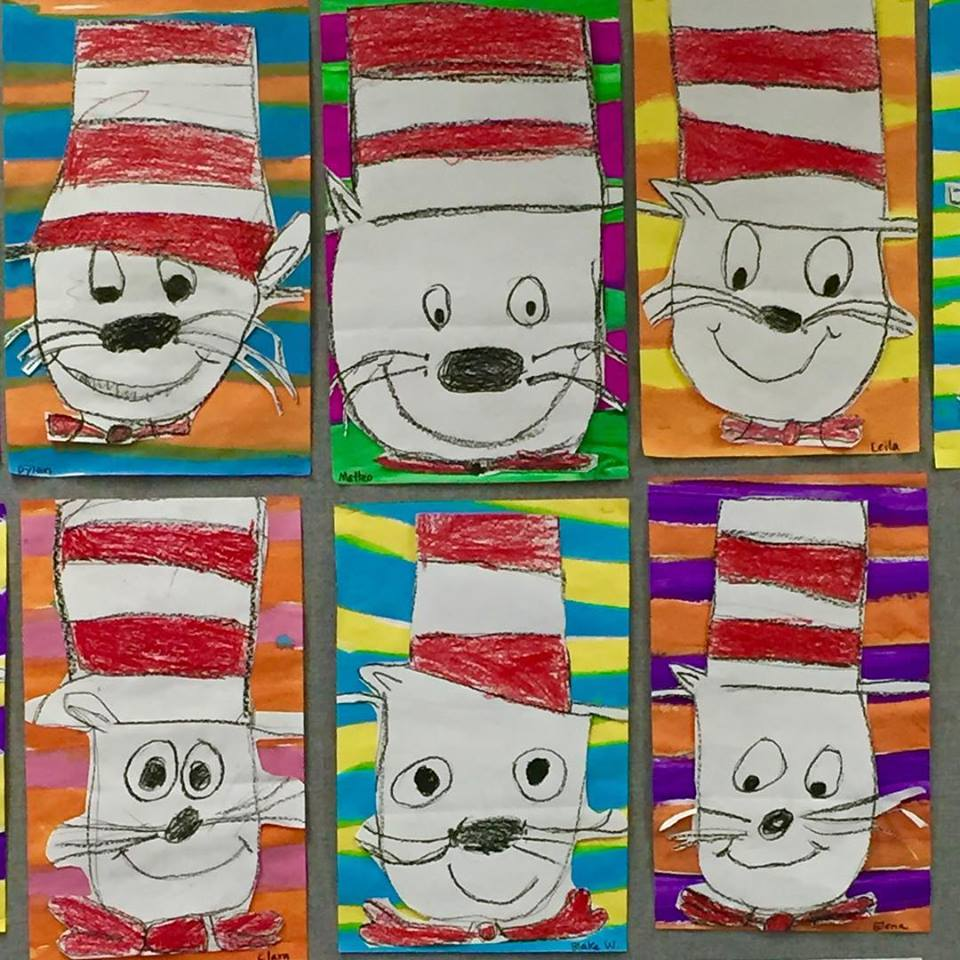 Kinder draw The Cat in the Hat for Dr. Seuss Day
